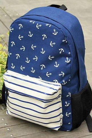 Blue Small Pure Fresh Marine Institute Wind Anchor Strip Backpack
