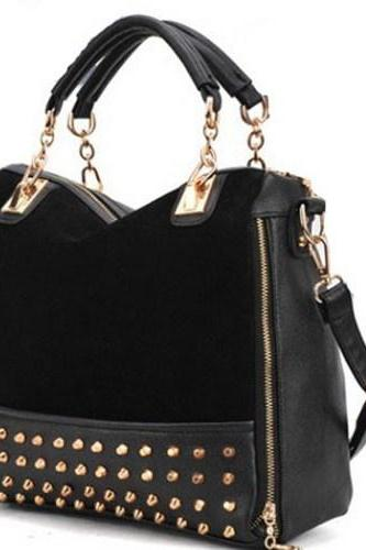 Studded Leather Crossbody Handbag with Handles