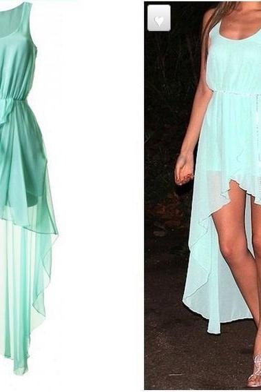 Mint Green Sleeveless Chiffon High Low Chiffon Summer Dress