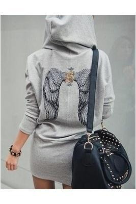 Wings Printed Women's fashion Hooded Dress