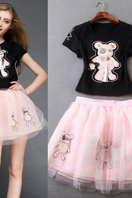 Cartoon Bear T-Shirt And Pink Skirt Suit LYY