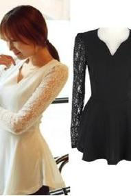 Lace Stitching Chiffon Slim V collar Long Sleeved Shirt Blouses