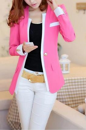 Refreshing All-match Style Color Block Jacket Suit Blazer