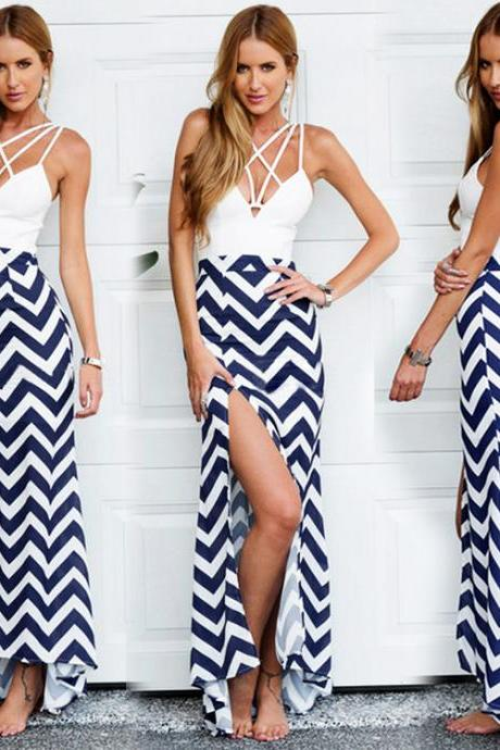 Sexy Side Slit Chevron Maxi Dress