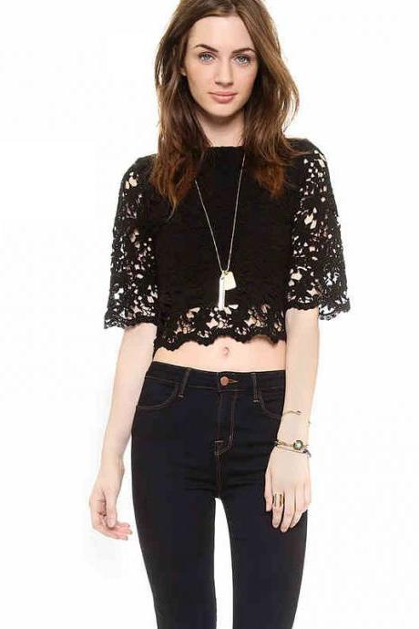 Lace Stitching Sleeveless Crop Tops