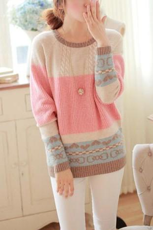 Pink Sweet Pastel Colors Loose Sweater
