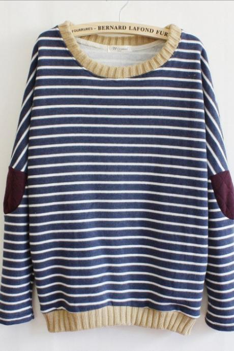 Women's Retro-Inspired Cotton Striped Long Sleeve Sweater with Elbow Patches