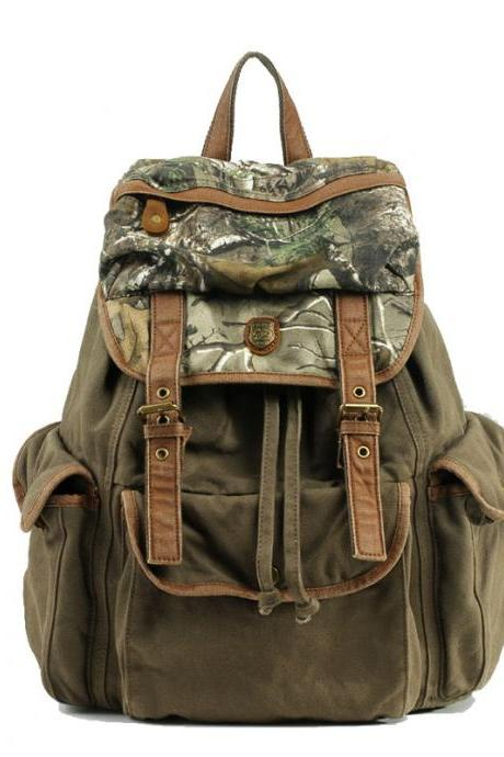 Retro Army Camouflage Drawstring Hasp Canvas Camping Hiking Travel Backpack