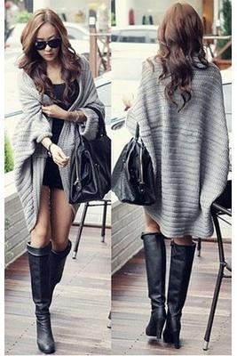 Women's Fashion Cape Loose Bat Sleeve Sweater Cardigan