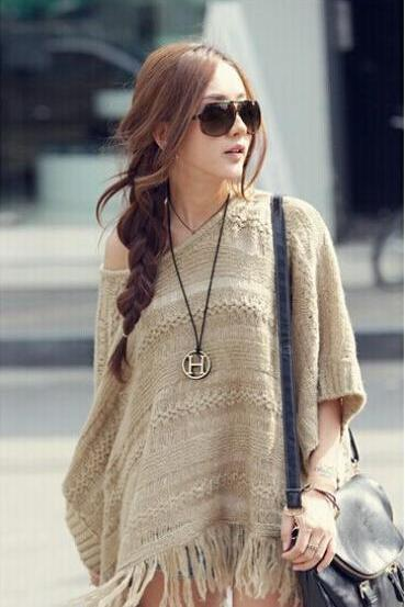 Hollow Knitted Shawl Fringed Cloak Bat Sleeve Sweater