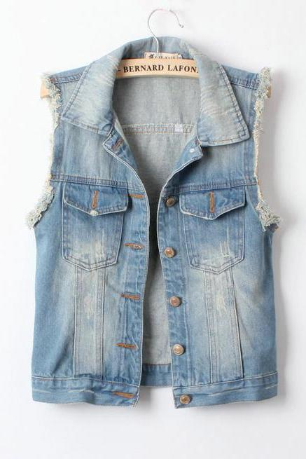 Light Blue Retro Fashion Denim Vest