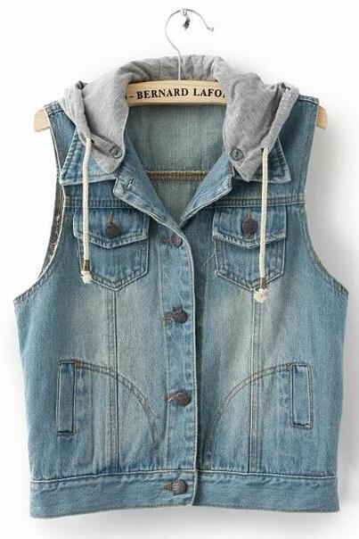 Fashion Jeans Jacket Hooded Vest