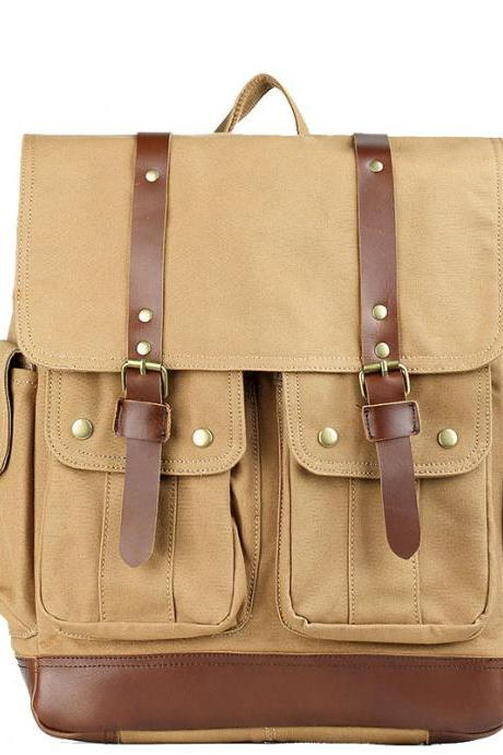 Canvas Rucksack with Double Closure Strap