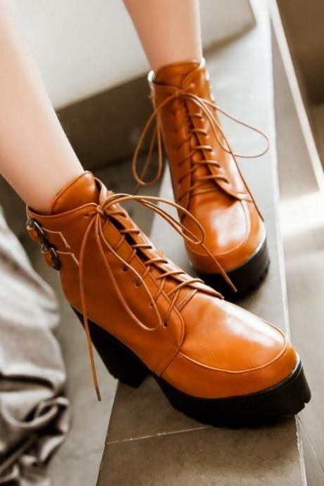 Woman Chunky Heel Lace Up PU Boots(00009 ) BVB2FHPULAR