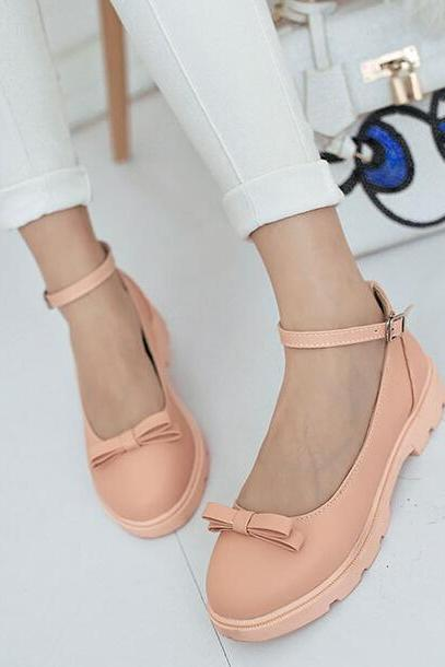 Vivi With Bow Ankle Strap Flats(00003) AKD1J6UY6WH