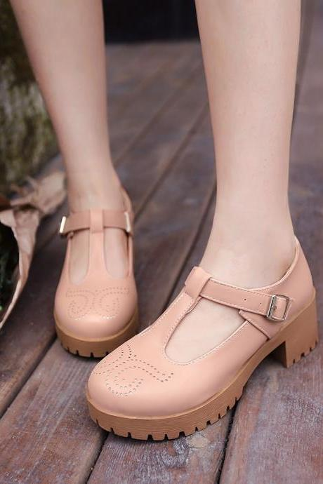 Pink Blue Beige T-strap Square Heel Sandals(00001) MAN4U4CE8PM