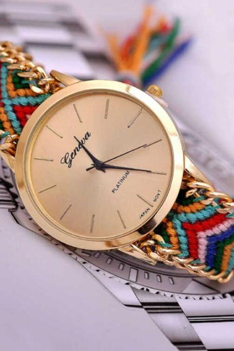 Juice action Womens Bracelet Braided Rope Watch