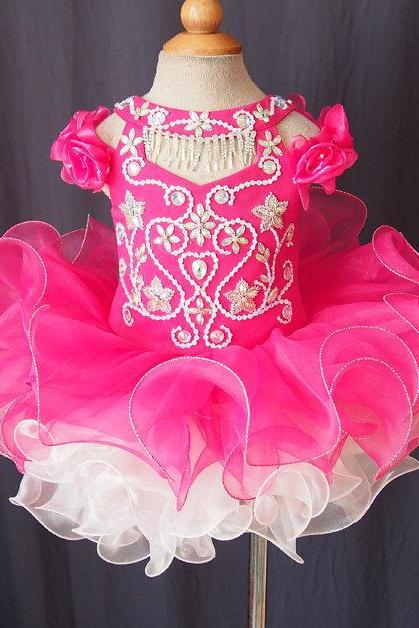 Lafine Ruffle Organza Flower Girl Dress With Beading Baby Tutu Infant Pageant Clothes Customization
