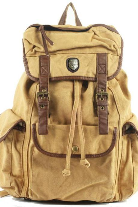 Satchel Solid Drawstring Double Hasp Canvas School Bag Camping Backpack