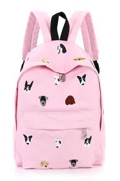 Dog Embroidery Canvas Backpack