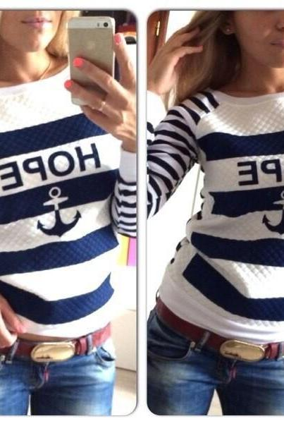 Anchors Printing Round Neck Striped Sweater Hoodie