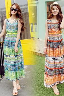 Bohemian Summer Dress Striped Chiffon Dress