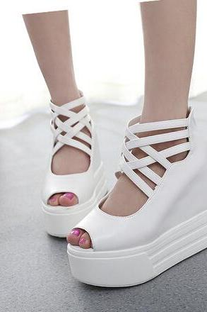 Sexy hollow-out the wedge high with sponge fish mouth sandals--white