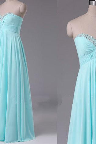Light blue sweetheart neck long Bridesmaid Dresses 2016 on luulla dress