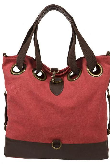 Solid Large Multifunction Tote Handbag Shoulder Bag
