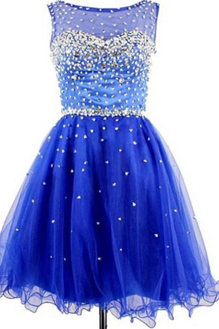 Royal Blue Beading Homecoming Dresses ,The Charming Graduation Dresses,Homecoming Dress,Short/Mini Homecoming Dress