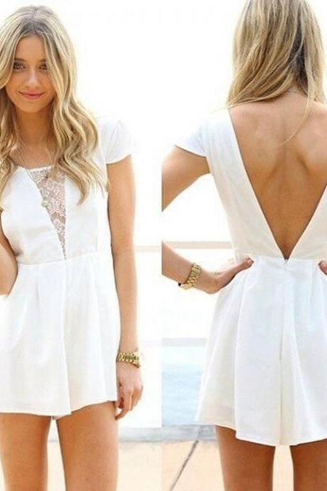 Stylish Lady Women's Casual New Fashion Short Sleeve Backless Sexy Jumpsuit
