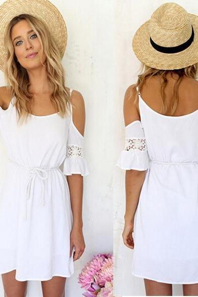 White Cold Shoulder Short Shift Dress Featuring Lace Appliqué and Rope Accent Belt