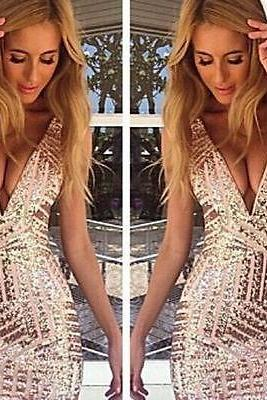 Sexy Women's Deep V Neck Bodycon Bandage Club Cocktail Party Evening Slim Dress
