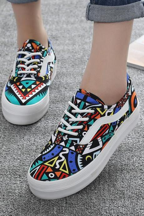 Geometric Graffiti Canvas Sneakers