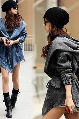 Women's Hot Denim Trench Coat Hoodie Outerwear Hooded Jeans Coat Jacket