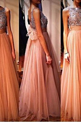 A Line Pink Tulle Prom Dresses, Long Prom Dress, Cheap Prom Dress, Elegant Prom Dresses, Senior Formal Dresses, Prom Dresses 2015