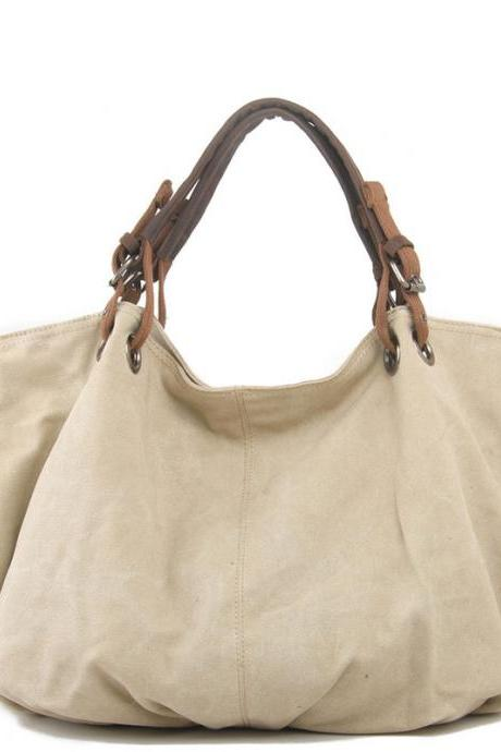 Simple Solid Canvas Hobo Handbag Crossbody Shoulder Bag
