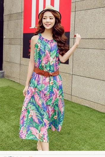 Summer New Bohemian Beach Dress Floral Chiffon Dress Sling
