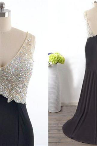 Sexy black evening dress, V-neck evening dress, A-line dress, beaded evening dresses, prom dresses, prom dresses halter royal manufacture for sale,