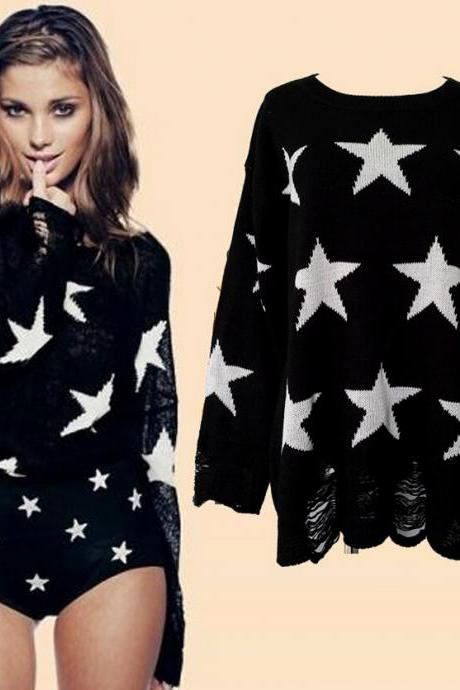 Hot sale Unique Stars Printed Knit&Sweater for women