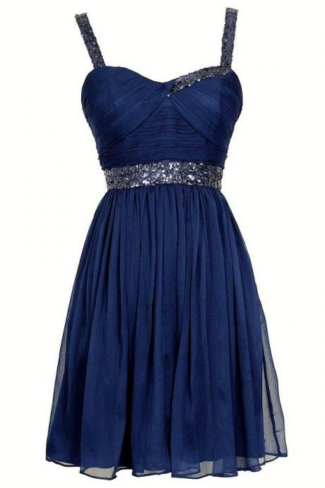 Navy Blue Short Chiffon Pleated Dress with Thick Straps Ruched Sequined Sweetheart Bodice - Graduation, Homecoming Dress