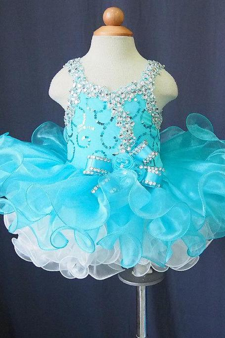 Lafine Elegant Chiffon Tutu Flower Girl Dress Baby Infant Toddler Pageant Clothes Skylight Bule
