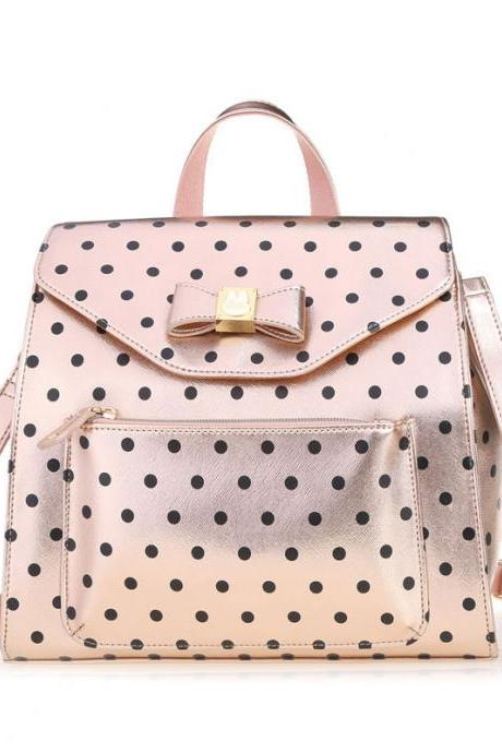 Lovely Bow Polka Dot Multifunction Backpack