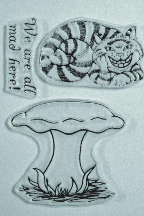 Alice in Wonderland Cheshire Cat clear stamp set includes a large mushroom