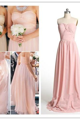 Pink Chiffon Floor Length Bridesmaid Dresses, Pink Bridesmaid Dresses, Weddings,Prom Dresses, Formal Dresses