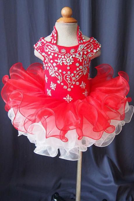 lafine flower girl dress with beading full handmade halter baby toddler pageant clothing fd1602091c