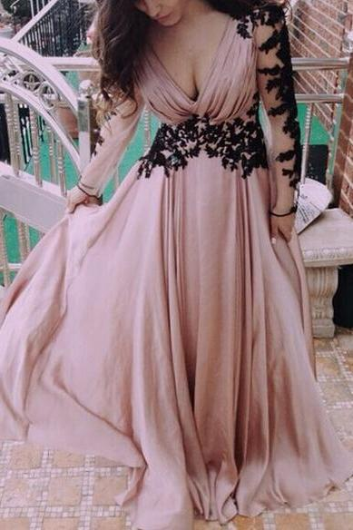Sexy V-Neckline Handmade Chiffon Backless Appliques Champagne-Pink Prom Dress 2015, Prom Gown 2015, Sexy Prom Dresses, Prom Dresses 2015