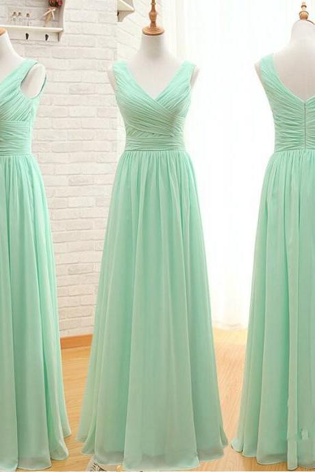 2015 new Bridesmaid Dress A Line Simple Elegant Cheap Long Mint Green Bridesmaid Dresses andParty Dresses For Wedding,Chiffon Prom Dresses