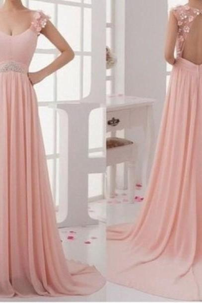 Charming Pink Sweep Train Lace Backless Prom Dresses 2015, Pink Prom Dresses, Bridesmaid Dresses, Evening Dresses, Lovely Party Dresses