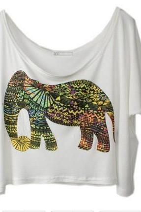 Colorful Elephant, Loose Big Yards Short Sleeve T-Shirt